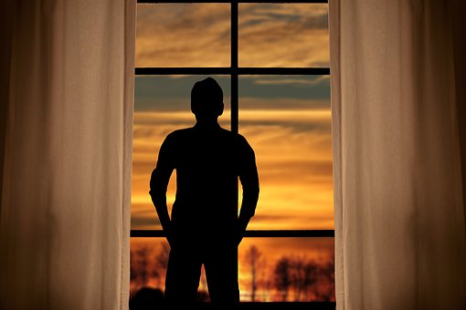 View, Window, Curtain, Sunset, Hope, Man, Outlook