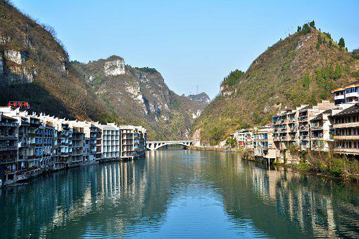China, The Town Building, Zhenyuan, Old Town, Scenery