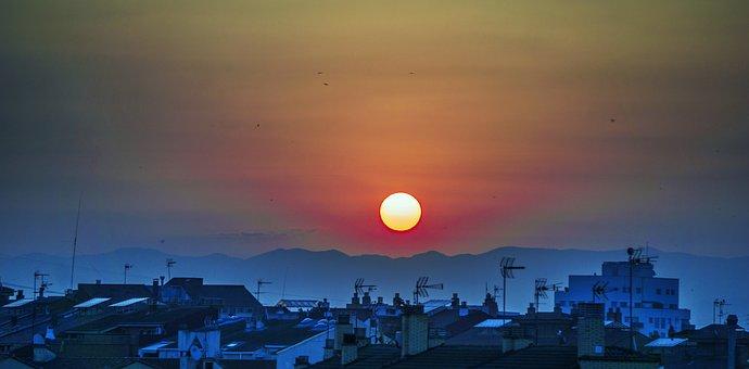 Sun, Twilight, Sky, Landscape, Summer, Alba, Mist, City