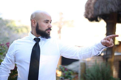 Determination, Vision, Man, Bald, Beard, Pointing