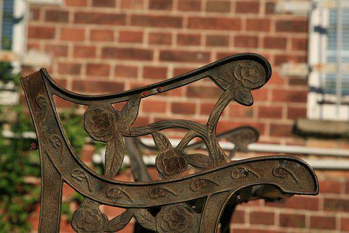 Bank, Old, Cast, Iron, Ornaments, Bench, Weathered