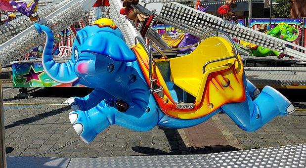Funfair, Carousel, Kiddy Ride, Fun, Colorful, Elephant