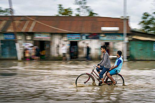 Flood, Kids, Cycle, Street, Bike, Kid, Child, Bicycle