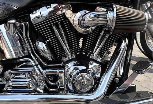 Motorcycle, Harley, Davidson, Chrome, Chromed