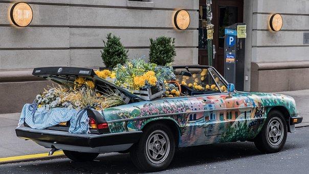 Car, Convertible, Fruit, Greengrocers, Vegetables