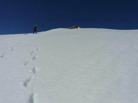 Snow, Footprints, Winter, Landscape, Mountains