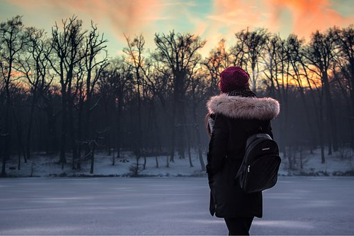 Winter, Snow, Lake, Frozen, Frozen Lake, Girl, Sunset