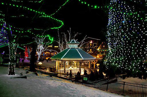 Holiday In The Village, Christmas, Lights, Village