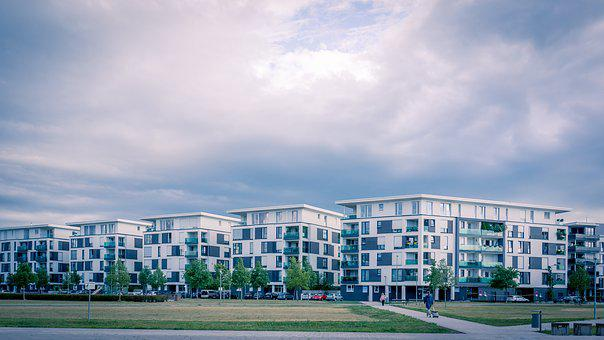 Karlsruhe, View, Town, City, Landscape, Clouds