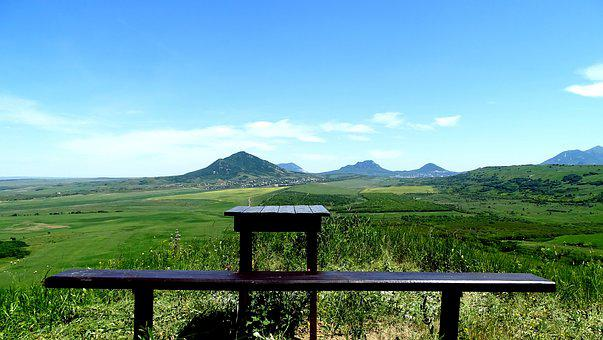 Bench, Panorama, Mountains, Landscape, Sky, Vacation
