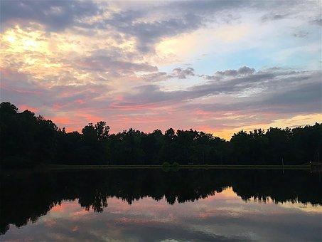 Sunset, Lake, Sky, Clouds, Light, Sun, Evening, Dusk