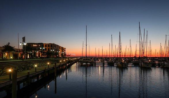 Port, Web, Light, Evening, Homes, Night, Boats, Ships