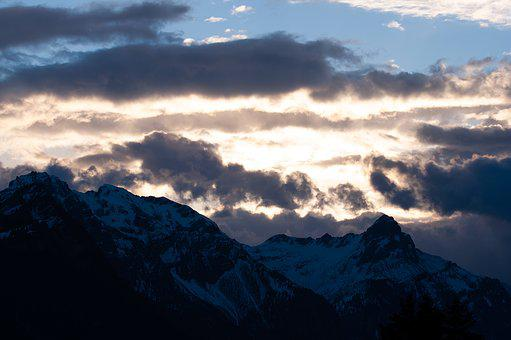 Sky, Clouds, Mountains, Mountain Peaks, Spring, Nature