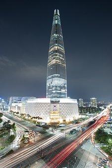 Night View, Seoul, Jamsil, Korea, Skyscraper, Tower