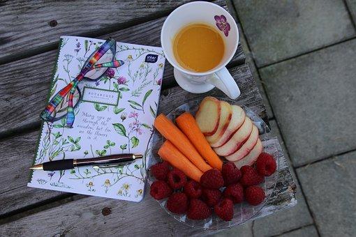 Notebook, Glasses, Pen, Write, Notepad, Raspberries