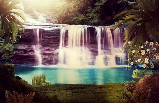 Fantasy, Waterfall, Rock, Trees, Lake, Palm Trees
