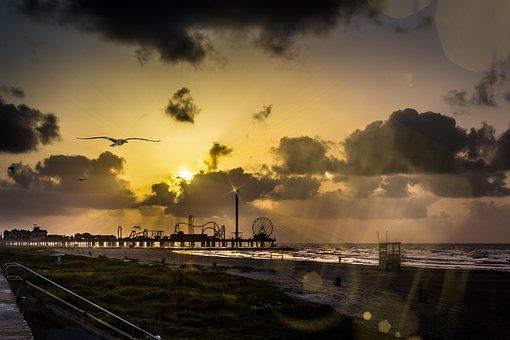 Sunrise, Sun, Light, Flares, Rays, Bokeh, Galveston