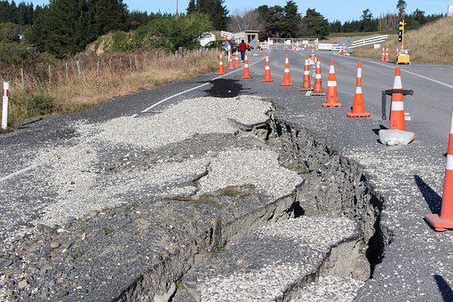 Road, Broken, Crack, Earthquake, Damage, Cones, Repairs