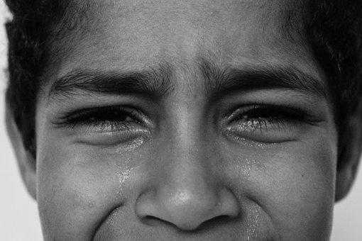 Sad, Poverty, Crying, Depression, Black And White