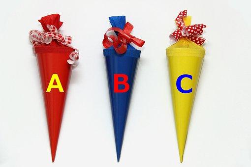 School, Schultüte, Yellow, Blue, Red, School Enrollment