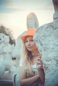 Park, People, Girl, Sculpture, Art, Girls, Woman