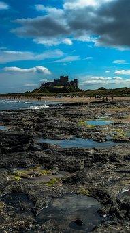 Castle, Beach, Rocks, Sea, Clouds, Waves, Architecture