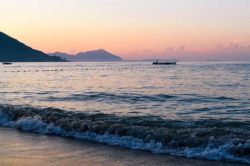 Shenzhen, China, Sea, Sunrise, Sky, Guangdong