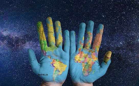 Space, Milky Way, Earth, Hands, Star, World, Background