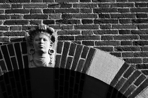 Wall, Face, Brick, Woman, Stone, Structure, Mysticism