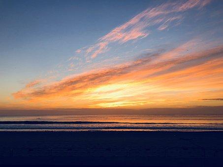 Sunrise, Beach, Sea, Landscape, Morning, Coloured Sky