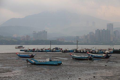 Taiwan, Fishing Boats, Gray