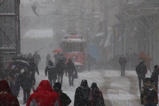 Tramway, Beyoğlu, Winter, Snow, Cold