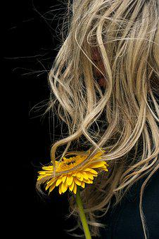 Flower, Woman, Hair, Yellow, Wind, Portrait, Romantic