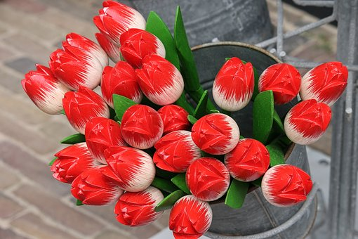 Tulips, Wooden Tulips, Decoration, Hand Labor, Colorful