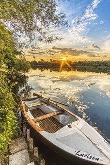 Fishing Boat, Boat, Lake, Sunset, Water, Nature, Sky
