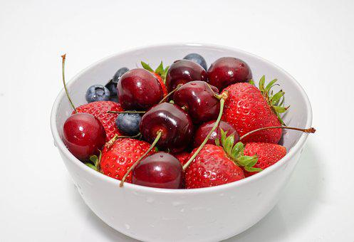 Fruit, Cherries, Blueberries, Strawberries