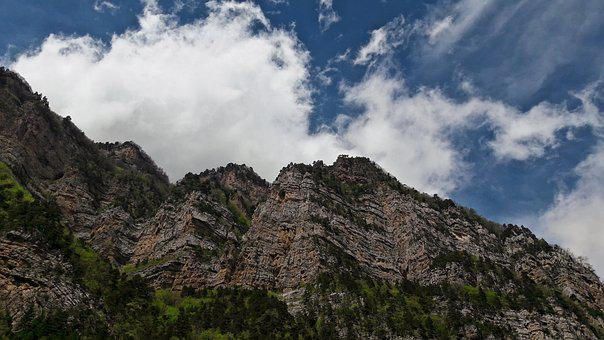 Sky, Mountains, Clouds, Nature, Rocks
