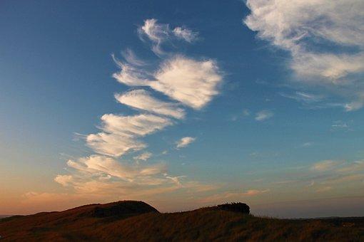 Evening Sky, Clouds, Sunset, Dunes, Coast