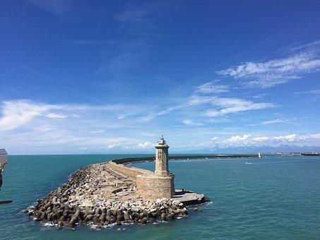 Lighthouse, Coast, Water, Sea, Port, Ocean, Clouds