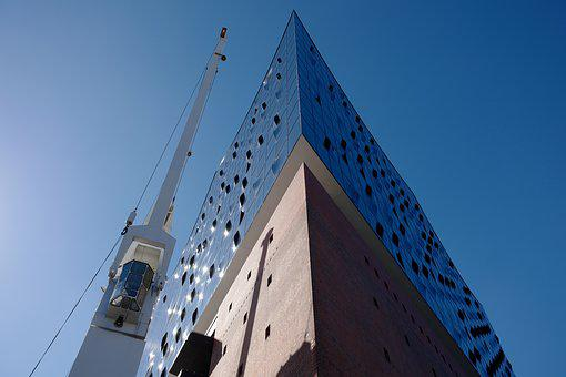 Elbe Philharmonic Hall, Hamburg, Crane, Building