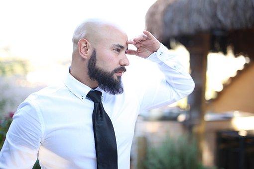 Determination, Vision, Man, Bald, Beard, Observing