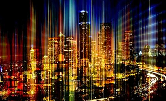 Skyline, Light, Rays, Gloss, Upgrade, Distortion