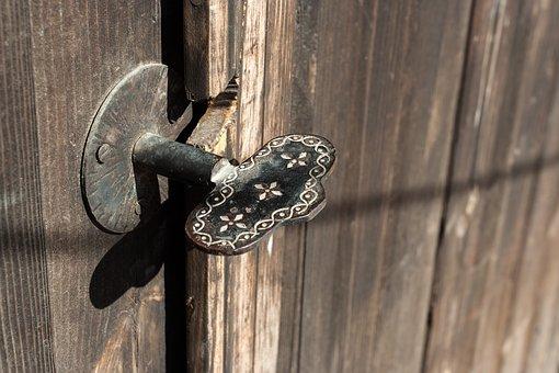 Door, Handle, Metal, Old, Tree, Entrance, Background