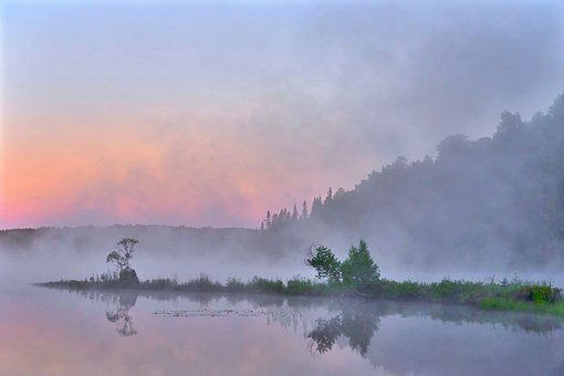 Break Of Dawn, Landscape, Sky, Environment, Mist, Trees
