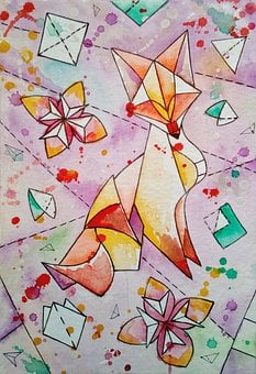 Figure, Origami, Fox, Chanterelle, Watercolor, Painting