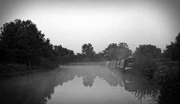 Leeds, Liverpool, Canal, Abram, Mist, Morning