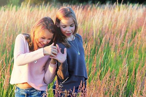 Teenager, Meadow, Grass, Girls, Friends, Friendship
