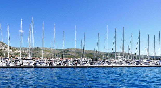 Sea, Port, Mountains, Croatia, Trogir
