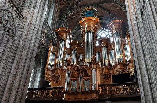 Belgium, Mons, Church, Organ, Music, Instrument