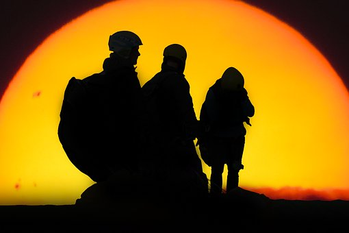 Sport, Emotions, Sun, Sunset, Parachutist, Paraglider